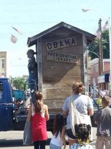 President Barack Obama disrespected in float