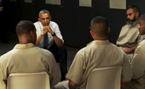 President Obama meeting with inmates at El Reno federal prison in Oklahoma on July 16, 2015. Courtesy of VICE Media.