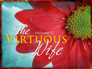 Picture of red flower, text The Virtuous Wife, photo cred- http://www.newhopeladies.com/?m=201211