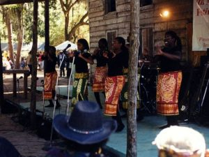 Singers perform during the Sapelo Island Cultural Day, held each October on the island. The festival celebrates the songs, stories, dances, and food of the Geechee and Gullah culture, which developed on the Sea Islands among enslaved West Africans between 1750 and 1865. ( Jennifer Cruse Sanders)