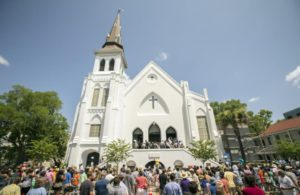 Crowds gather outside the Emanuel AME Church in Charleston, June 21, 2015, AP Photo/Stephen B. Morton
