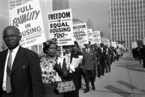 Citizens protesting for equality in housing