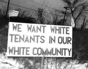 A sign from white Detroit homeowners