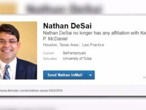 The LinkedIn profile of Houston lawyer Nathan DeSai, who shot 9 people during an early morning shooting spree Monday. Image courtesy of KHOU News.