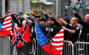 Alt-right members protesting.