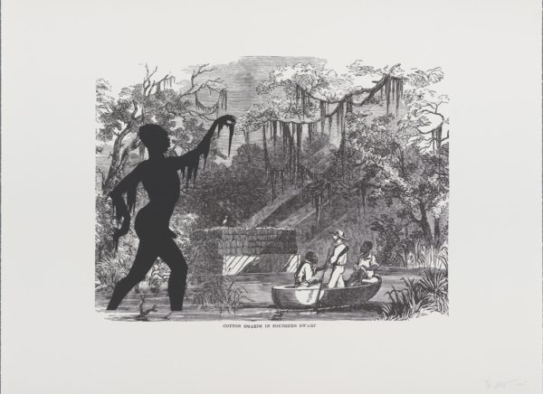 """Harper's Pictorial History of the Civil War (Annotated): Cotton Hoards in Southern Swamp"" (Kara Walker. edition 21/35, 2005 offset lithography and screenprint 39 x 53 in. 2005.339k)"