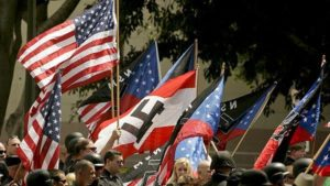 A group of about 40 National Socialist Movement members hold a rally outside Los Angeles City Hall. Photo by Anne Cusack/Los Angeles Times.