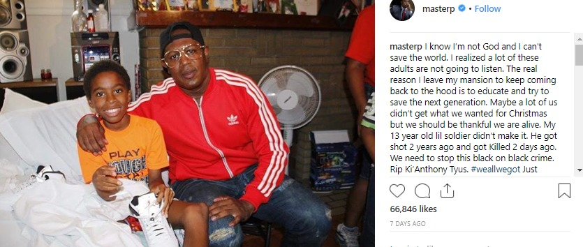 Master P paid for the funeral of a 13 year old boy who was killed in a car crash.
