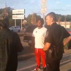 Police stop man in red pants