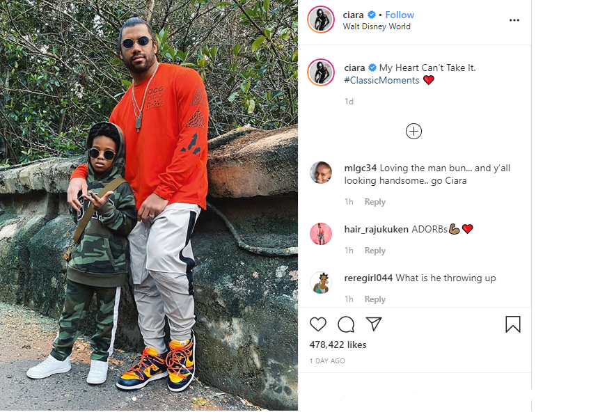 'My Heart Can't Take It': Ciara Gushes Over 'Classic Man' Photo with Son Future and Husband Russell Wilson